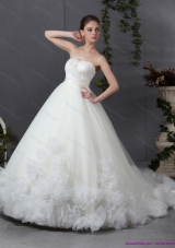 New A-Line Ruffled White Wedding Dresses with Chapel Train