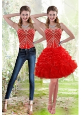 2015 Red Detachable Prom Skirts with Beading and Ruffles