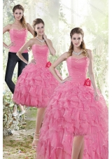 2015 Rose Pink Detachable Prom Skirts with Beading and Ruffles