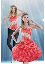 2015 Strapless Appliques and Pick Ups Detachable Prom Skirts in Coral Red