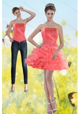 2015 Watermelon Red Strapless Detachable Prom Skirts with Beading and Ruffles