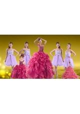 New Style One Shoulder Beading Sweet 16 Dress and Sweetheart Beading Short Dama Dresses and  Ruffles Beading Little Girl Dress