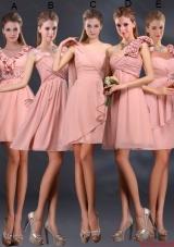 2016 Winter Pretty Ruching Chiffon Dama Dresses in Peach
