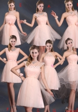 Luxurious 2016 Fall Baby Pink Mini Length Dama Dresses