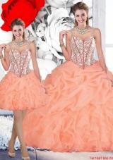 2016 Perfect Straps Orange Detachable Quinceanera Dresses with Beading