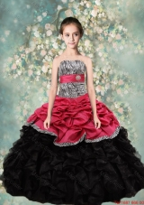 2016 Spring Lovely Strapless Mini Quinceanera Dresses with Zebra and Ruffles