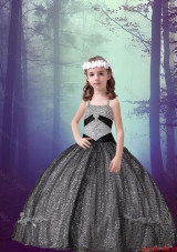 2016 Spring Pretty Straps Black Sequined Mini Quinceanera Dresses with Appliques