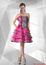 2016 Spring Discount A Line Strapless Zebra Dama Dresses with Ruffled Layers