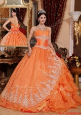 2016 Gorgeous Orange Red Ball Gown Floor Length Quinceanera Dresses