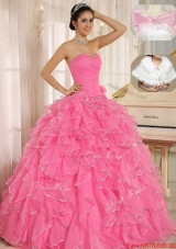 2016 Spring Popular Ruffles and Beading Quinceanera Dresses in Rose Pink