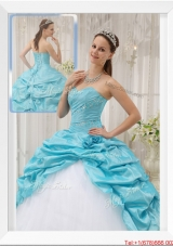 2016 Winter Cheap Aqua Blue Ball Gown Sweetheart Quinceanera Dresses