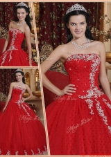 Designer Red Ball Gown Strapless Quinceanera Dresses
