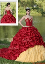 Exclusive Appliques and Pick Ups Brush Train Quinceanera Dresses