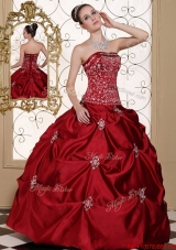 New Arrivals Embroidery Wine Red Strapless Quinceanera Dresses