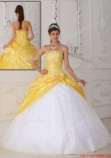Winter Romantic Ball Gown Appliques and Hand Made Flower Quinceanera Dresses