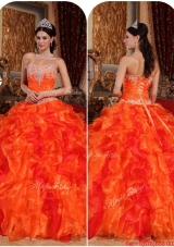 2016 Fall Exquisite Orange Quinceanera Gowns with Appliques and Beading