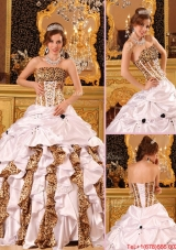 New Style Strapless Brush Train Quinceanera Dresses in White