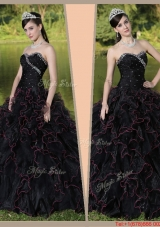 Winter Beautiful Sweetheart Quinceanera Gowns with Ruffles Layered and Beading