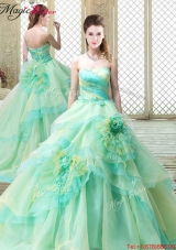 2016 New Strapless Brush Train Quinceanera Dresses with Hand Made Flowers 2016