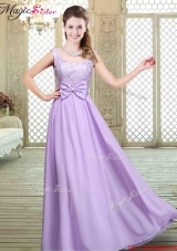 2016 Pretty Scoop Bowknot Lavender Bridesmaid Dresses for Fall