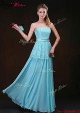 Affordable Strapless Floor Length Bridesmaid Dresses in Aqua Blue