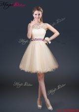 Beautiful Scoop Dama Dresses with Appliques and Belt