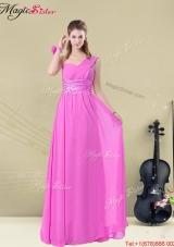 Hot Sale Empire One Shoulder Prom Dresses with Belt