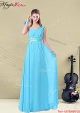Latest Floor-length One Shoulder  Prom Dresses with Belt