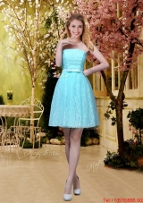 2016 Elegant A Line Laced Bridesmaid Dresses with Belt in Aqua Blue