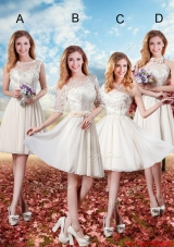 2016 Elegant ShortBridesmaid Dresses with Lace in Champagne