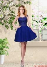 Decent Short Appliques Scoop Dama Dresses in Royal Blue