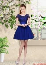 Sturning Bateau Short Royal Blue Dama Dresses with Cap Sleeves