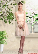 Beautiful Champagne Straps Bridesmaid Dresses with Bowknot