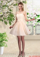 Cheap A Line Scoop Champagne Prom Dresses with Appliques