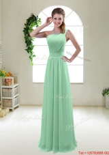 Classical Apple Green One Shoulder Dama Dresses with Zipper up