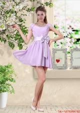 Decent Scoop Bowknot Prom Dresses with Cap Sleeves