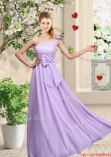 Fashionable One Shoulder Bridesmaid Dresses with Hand Made Flowers