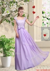 New Style Laced and Bowknot Prom Dresses with Square