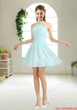 Cheap Halter Top Belt Light Blue Prom Dresses for 2016