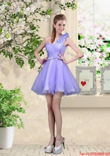 Elegant A Line Hand Made Flowers Bridesmaid Dresses with One Shoulder