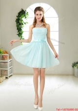 Elegant Strapless Mini Length Prom Dresses with Bowknot