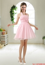 Latest Halter Top Chiffon Prom Dresses with Mini Length