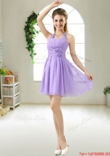 Modest Halter Top Hand Made Flowers Bridesmaid Dresses in Purple