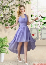 Beautiful Halter Top Ruched Prom Dresses with High Low