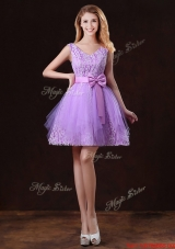 Discount V Neck Tulle Bridesmaid Dresses with Bowknot