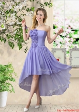 Pretty Strapless Chiffon Prom Dresses with High Low