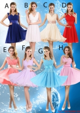 2016 Elegant Short Belt Bridesmaid Dresses with V Neck