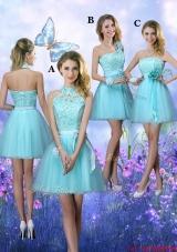 Beautiful A Line Aqua Blue Bridesmaid Dresses with Appliques