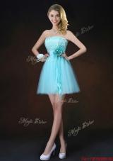 Cheap Lace Short Bridesmaid Dresses in Aqua Blue