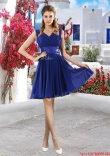 Discount V Neck Short Prom Dresses in Royal Blue
